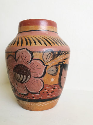 floral painted terra cotta vase