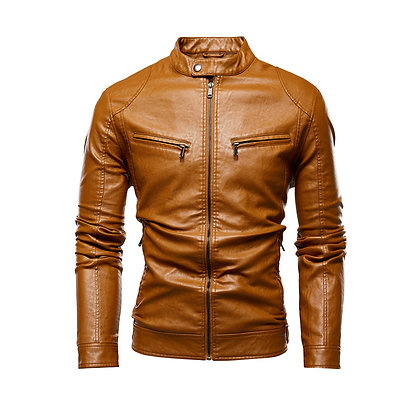 Retro Camel colour Leather Jacket