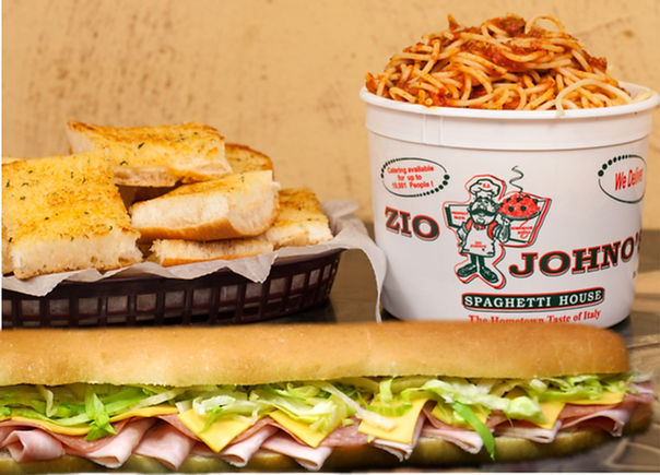 Family Servings at Zio Johno's. Spaghetti, Lasagna, Tortellini, Fettuccini, Garlic Bread, Cheese Bread. The Hometown Taste of Itlay. Carry out or Delivery.