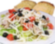 Salads & Soup. Chicken Salad Zio Johno's style. Seasoned chicken breast, tomatoes, black olives, mozarella all over fresh crispy lettue.
