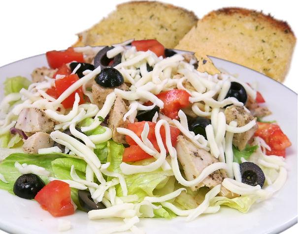 Salads & Soup. Chicken Salad Zio Johno's style. Seasoned chicken breast, tomatoes, black olives, mozarella all over fresh crispy lettue.