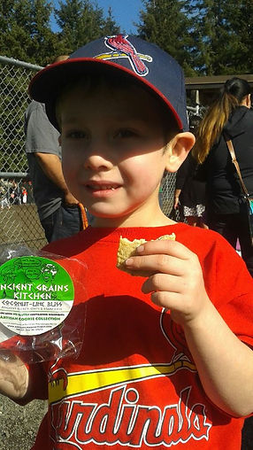 Local baseball hero fuels up with Ancient Grains Kitchen cookies!