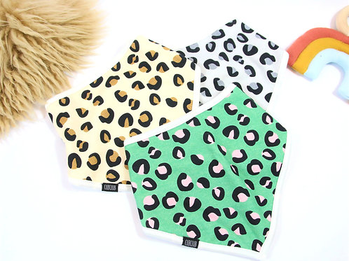 Grey leopard print bandana bib