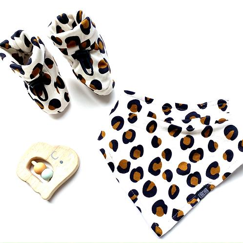 Beige Leopard Print Bootie and Bib Set