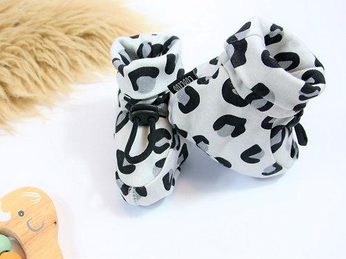 Grey leopard print booties