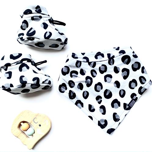 Grey Leopard Print Bootie and Bib Set
