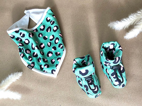 Green and Pink Leopard Print Bootie and Bib Set