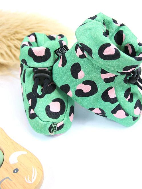 Green leopard print booties