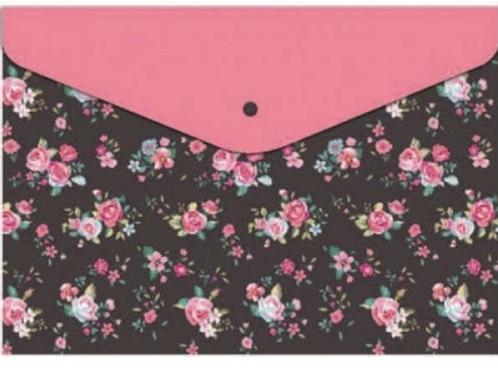 Папка конверт на кнопке 240*170мм, Цветочный узор