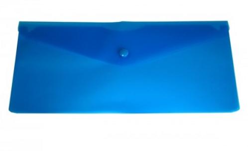 Папка конверт на кнопке 250*130мм 0,18мм однотонный,синий