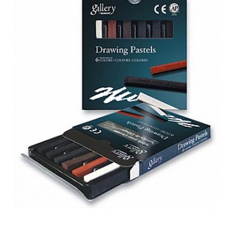 Пастель для рисования 6 цветов в картонной коробке