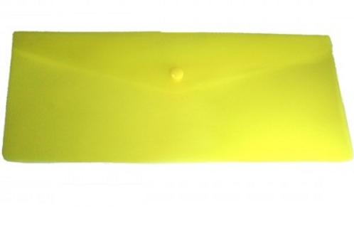 Папка конверт на кнопке 250*130мм 0,18мм однотонный, жёлтый
