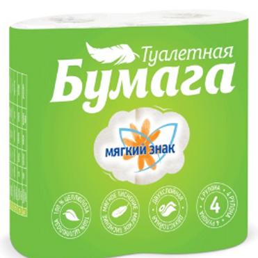 Бумага туалетная бытовая, спайка 4 шт., 2-х слойная (4х18 м), МЯГКИЙ ЗНАК, белая