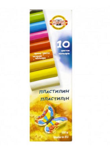 ПЛАСТИЛИН КЛАССИЧЕСКИЙ KOH-I-NOOR 10 ЦВ., 200 Г, БЕЗ СТЕКА