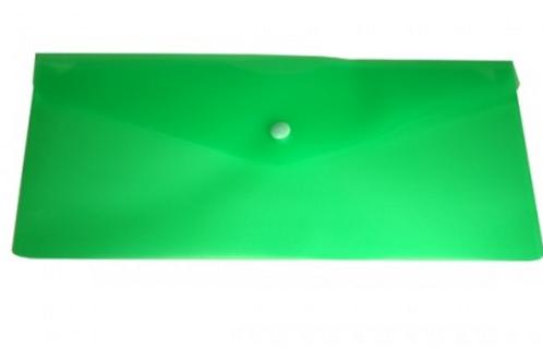 Папка конверт на кнопке 250*130мм 0,18мм однотонный,зеленый
