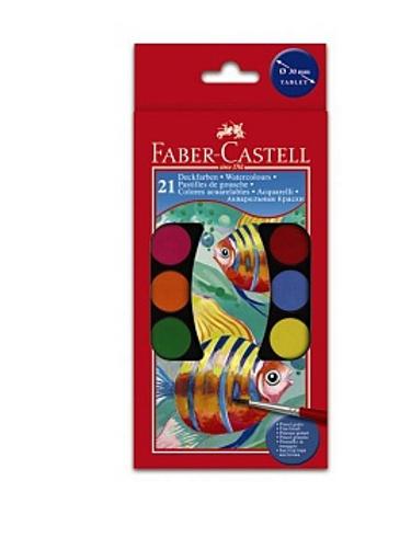 Набор детской акварели, 21 цв. (d30мм), 2 кисточки Faber-Castell