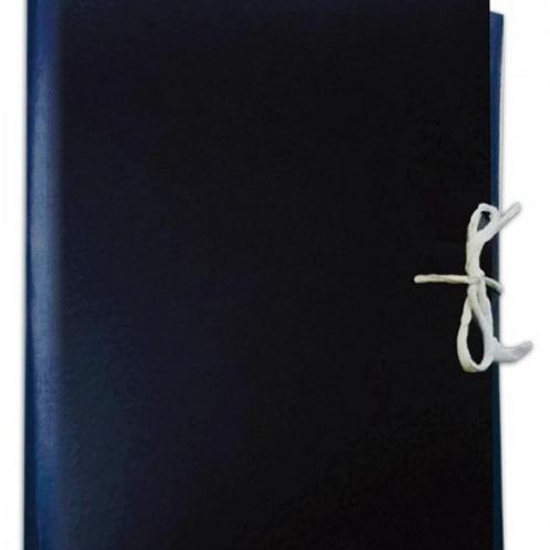 Папка архивная на завязках 50 мм синяя, 4 завязки, бумвинил