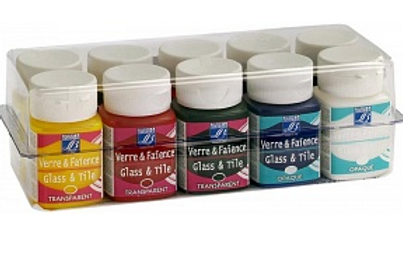 "Набор красок ""Glass&Tile"" 10х50мл (5 прозрачн, 5 непрозрач)"