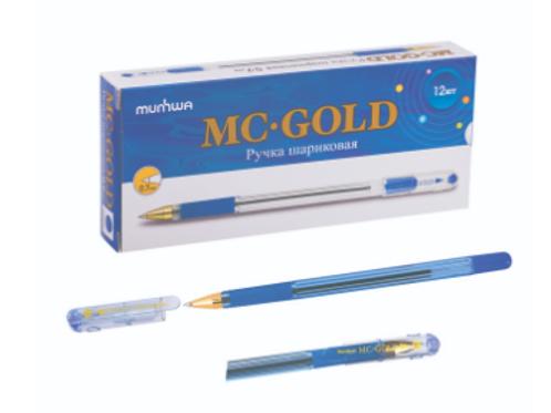 Ручка шариковая MC Gold, резиновый упор, узел 0,7мм, стержень синий