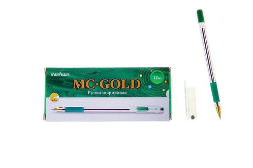 Ручка шариковая MC Gold, резиновый упор, узел 0,5 мм, стержень зеленый