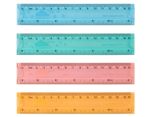 Линейка Deli00120G 15 см флюоресцентные цвета,двухсторонняя шкала