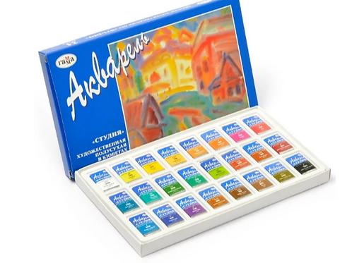 ГАММА Акварельные краски художественные Студия 24 цвета, в кюветах
