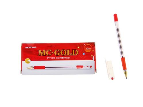 Ручка шариковая MC Gold, резиновый упор, узел 0,5 мм, стержень красный