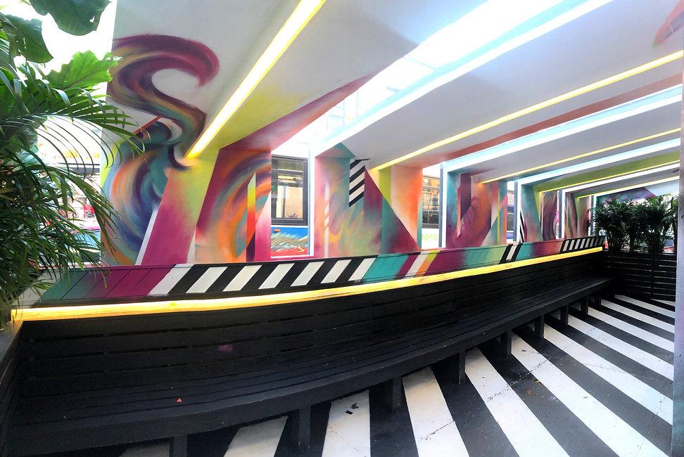 bianca romero art blend astoria custom outdoor seating area mural