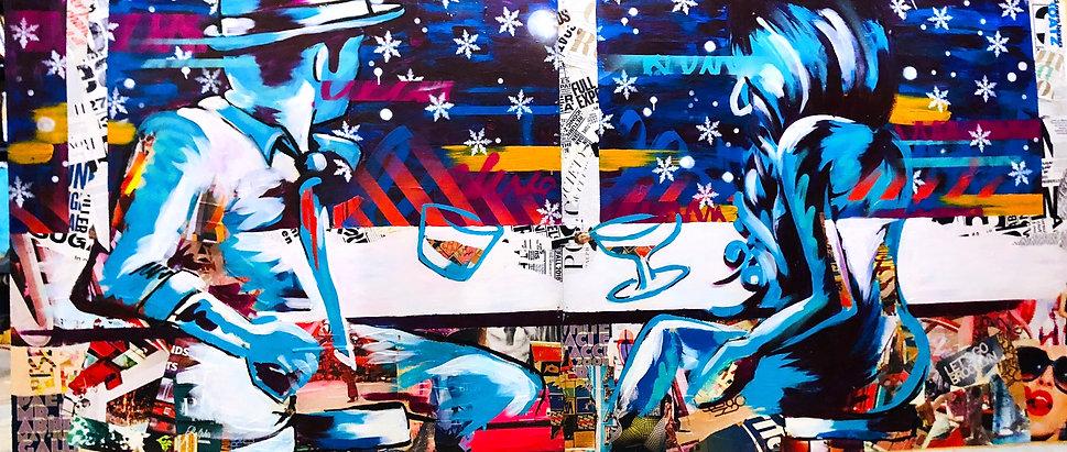 Bianca Romero art display for Makers Mark Jim Beam Knob Creek Basil Haydens
