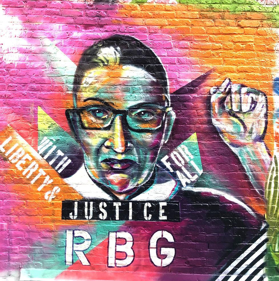 ruth bader ginsburg tribute mural bianca romero art, RBG mural, RBG tribute, bianca romero, nyc street art, womens empowerment mural, womens equality mural
