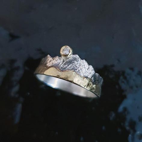 Verlobungsring aus Silber, Gold & einem Diamant