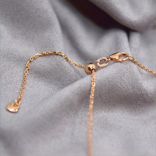 Ankerkette, Länge stufenlos verstellbar, mit Herz, Silber 925, rosévergoldet