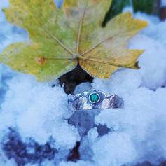 Verlobungsring, Weißgold, Silber & Smaragd