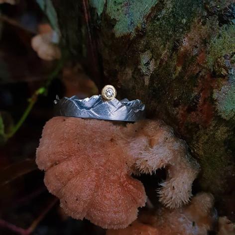 Verlobungsring aus Weißgold, Silber, Gold & einem Diamant