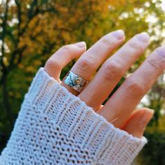 Silberner Ring mit goldener Sonne