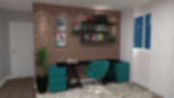 Escritório integrado com a sala