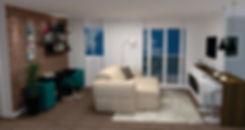 Escritório com integraçã com a sala de estar