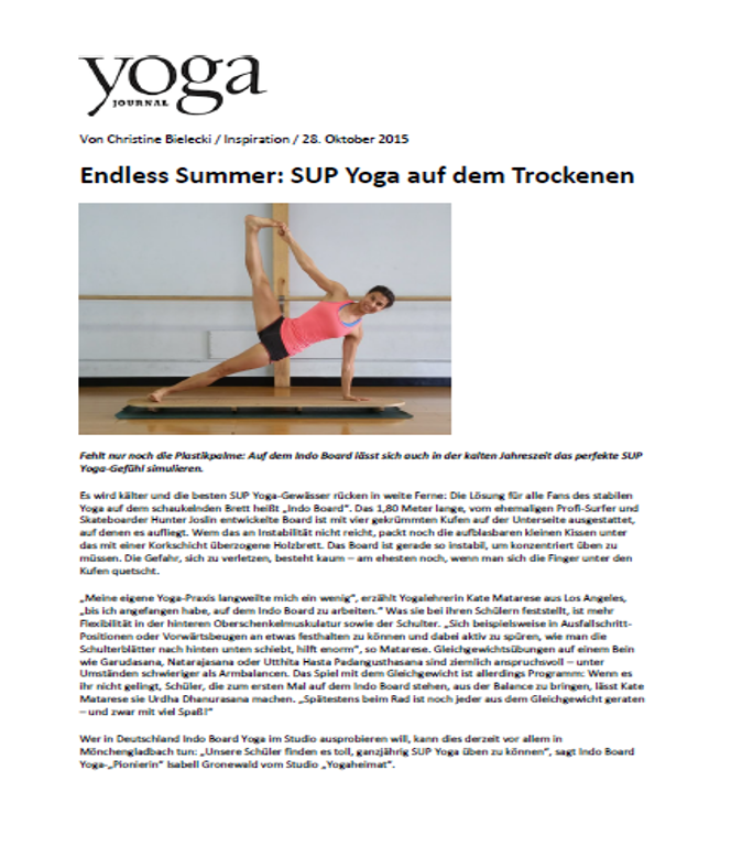 Yoga Journal Artikel SUP Yoga