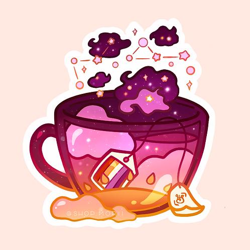 Lesbian Flag Teacup Sticker (@heysoleilart)