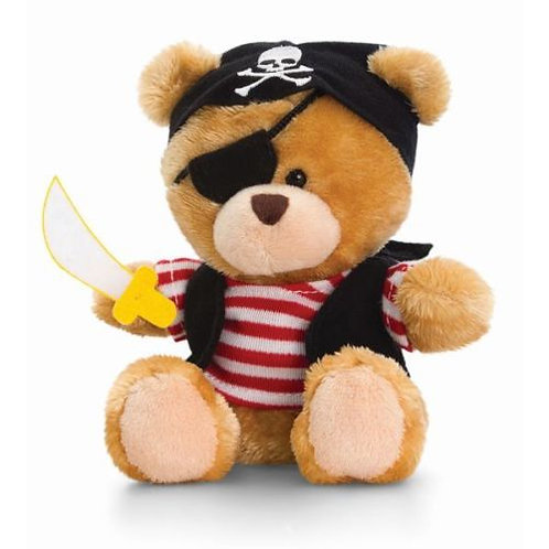 KORIMCO KEEL TOYS PIPP THE BEAR PIRATE RED STRIPED SHIRT 14cm