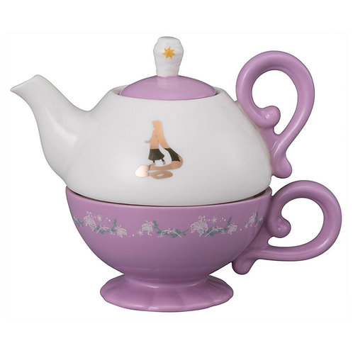DISNEY RAPUNZEL CERAMIC TEA SET FOR ONE TEAPOT TEA CUP GIFT BOXED