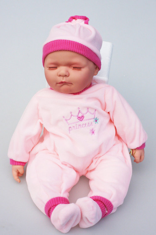 REALISTIC SLEEPING BABY DOLL SALLY IN BODY SUIT AND BEANIE 51CM