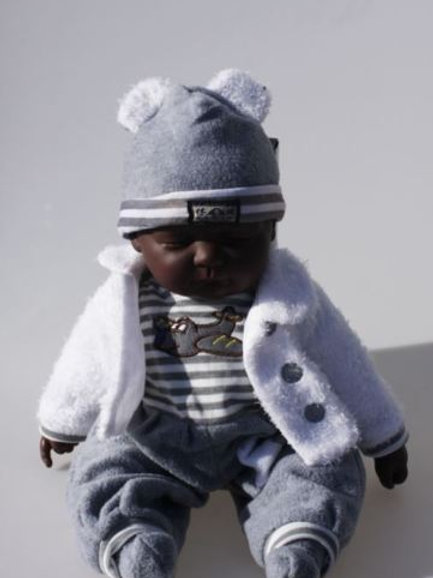 REALISTIC SLEEPING BABY DOLL BARDIN IN BODY SUIT BEANIE AND JACKET 51CM