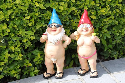 PAIR OF NUDE DRINKING GNOMES MALE AND FEMALE NUDIST NAUGHTY ORNAMENTS
