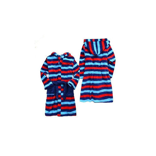 BABY BOYS STRIPED DRESSING GOWN WITH HOOD SIZES 0 , 1 , 2