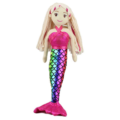 COTTON CANDY LARGE MERMAID MARIS WITH BRAIDED BLOND HAIR 70CM 27 INCH