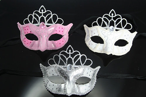 VENETIAN STYLE MASK WITH CROWN SILVER AND PINK