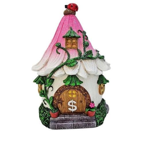 COTTON CANDY CERAMIC GLITTERY FAIRY FLOWER HOUSE MONEY BOX 18CM
