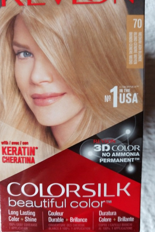 3 X REVLON COLOURSILK HAIR COLOUR 70 MEDIUM ASH BLONDE 3D COLOUR NO AMMONIA