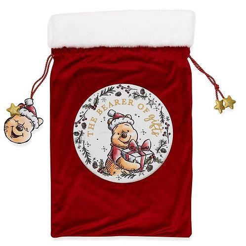 DISNEY WINNIE THE POOHCHRISTMAS RED VELVET GIFT SACK MERRY CHRISTMAS 59CM